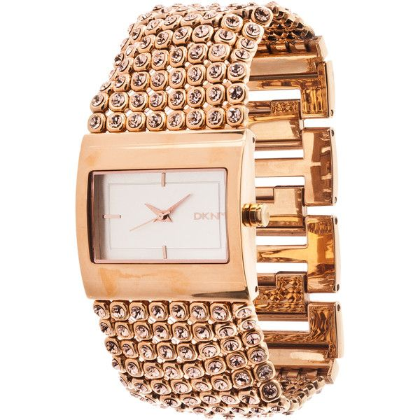 DKNY Womens Rose Goldtone Glitz Watch 172 liked on Polyvore