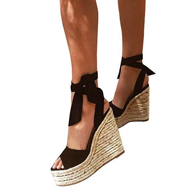 0ab2d958a21 Espadrille Wedge Peep Toe Lace Up Sandals | Women's fashion in 2019 ...