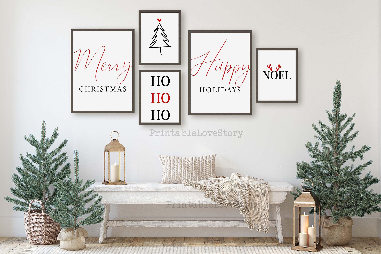 Merry Christmas Wall Artchristmas Printschristmas Set Of Etsy Christmas Wall Decor Christmas Wall Art Printables Christmas Wall Art