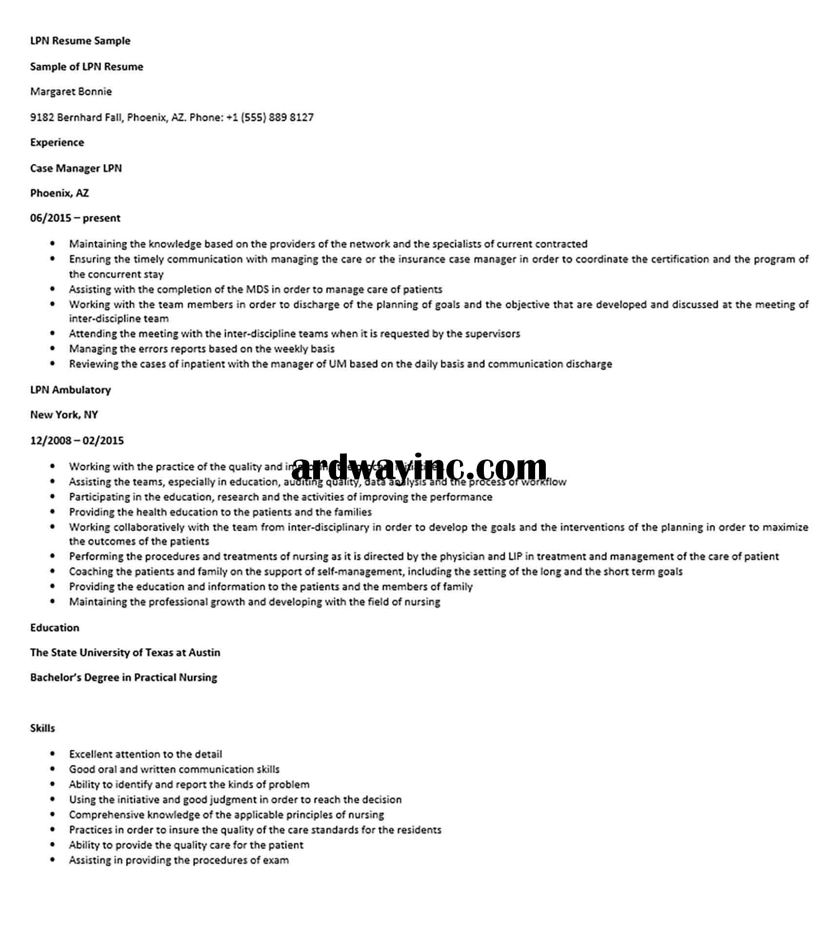 LPN Resume Sample in 2020 Lpn resume, Lpn, Resume