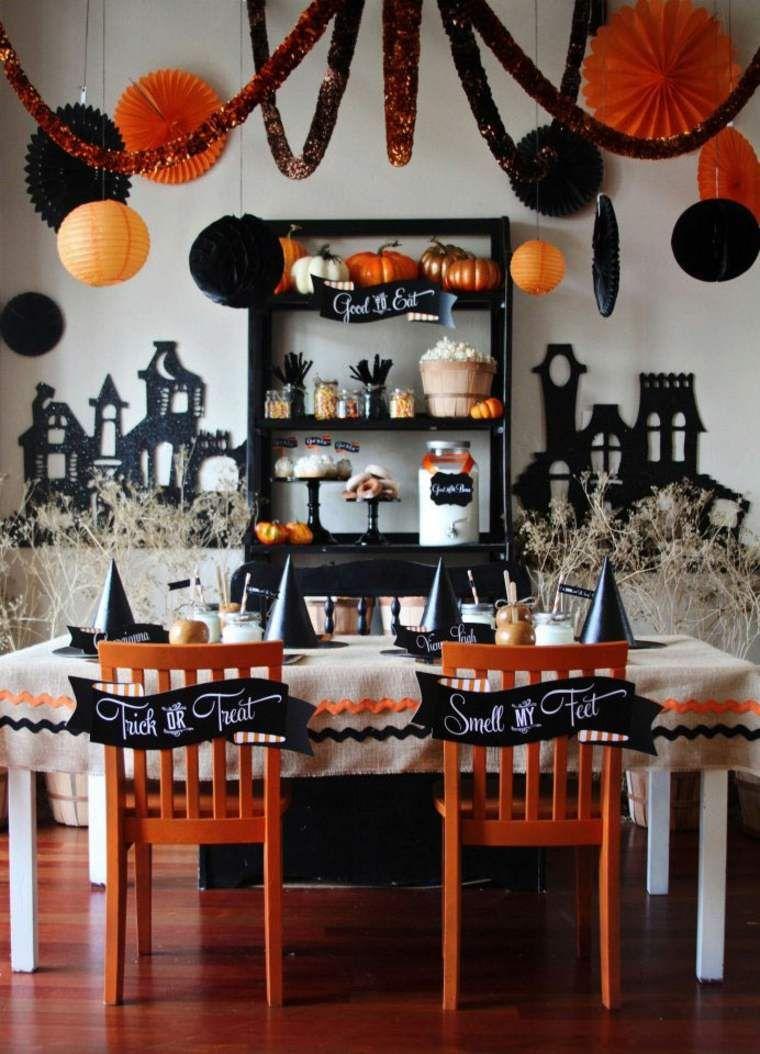 dcoration halloween maison guirlande intrieur ide boule suspension papier brico facile halloween table