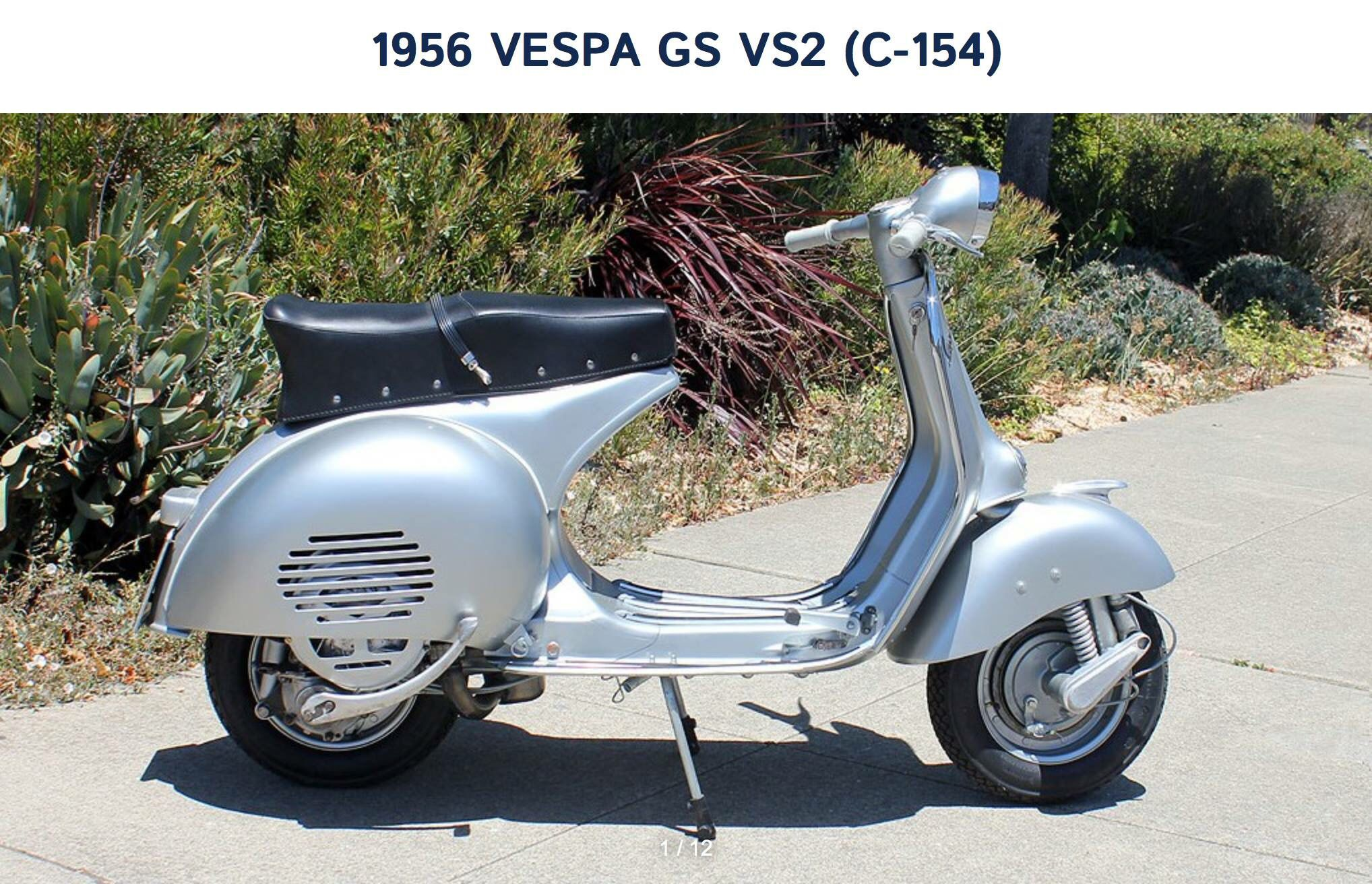 This 1956 Vespa Gs Vs2 Is A Beauty To Behold It Represents The First Of The Yearly Updates To The Gs Line And Incorporated Vi Vespa Vintage Vespa Vespa Moped