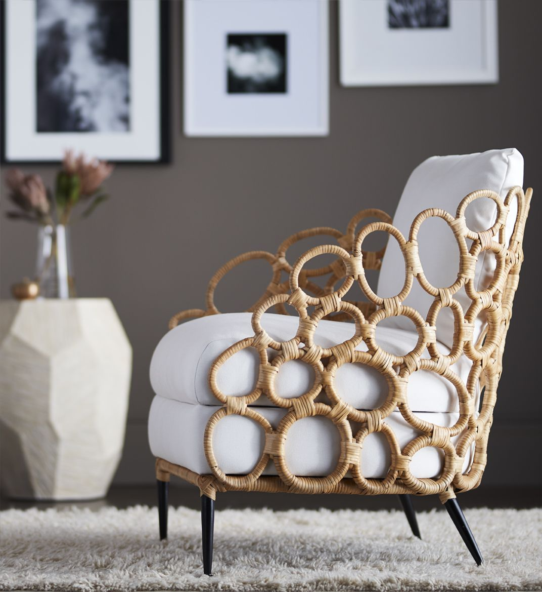 Palecek ella lounge chair metal frame wrapped with natural