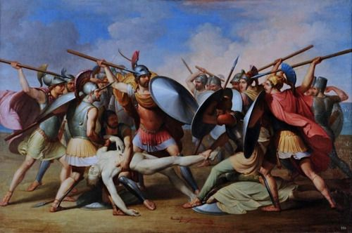 The Greeks and Trojans Fighting for the Body of Patroclus