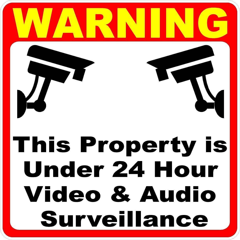 Warning Property Under 24 Hour Video Surveillance Decal