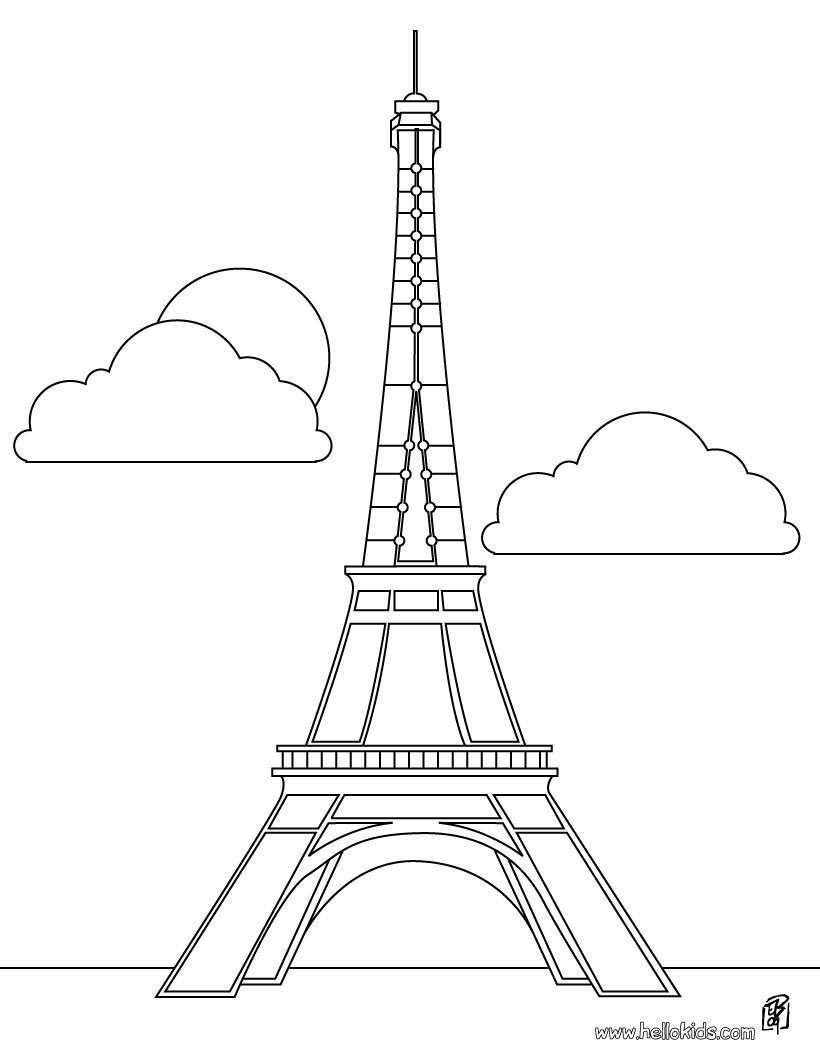 Eiffelturm zum Ausmalen  Eiffelturm zeichnung, Eiffelturm und