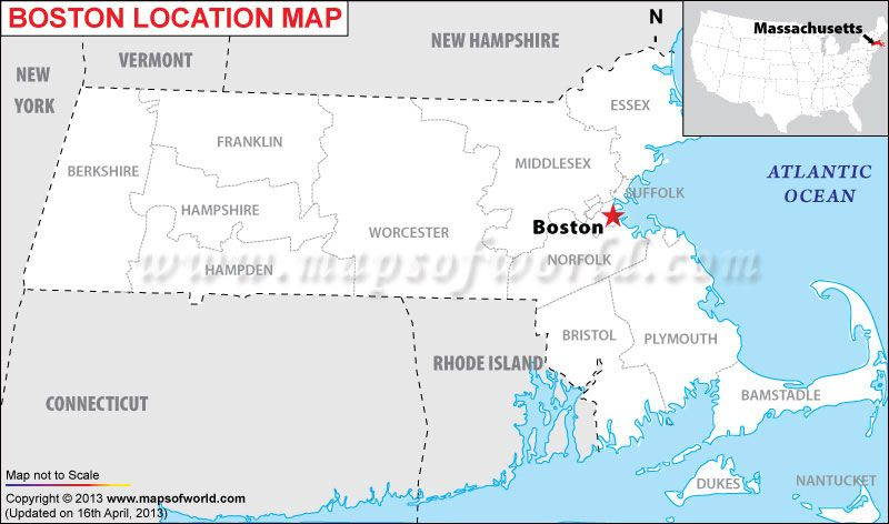 Location Map of Boston in US World Cities Maps Pinterest