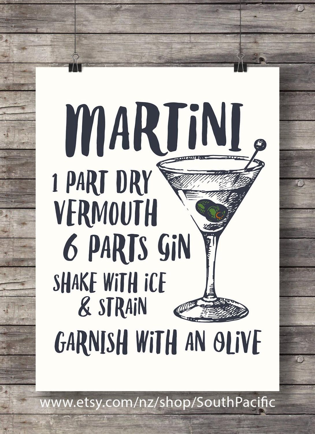 Martini Printable Tail Ilration Bar Decor Kitchen Clic