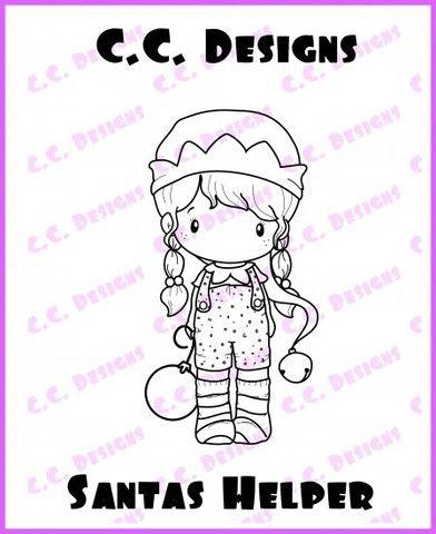 "C.C. Designs Swiss Pixie ""Santa's Helper"" Rubber Stamp"
