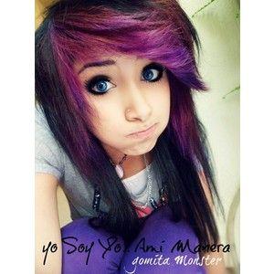 dark black and purple scene hair scene emo cute hair