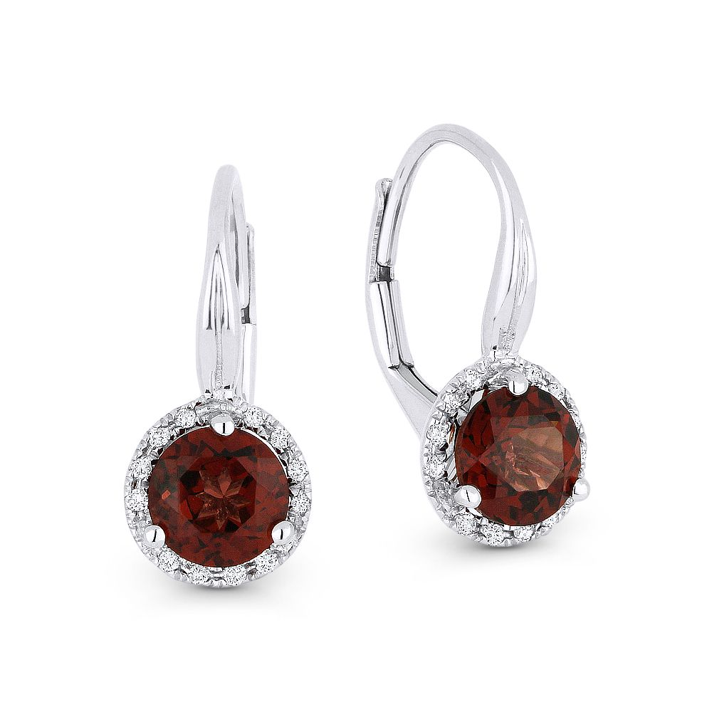 1 75ct Garnet Gem Diamond Leverback Baby Earrings In 14k White Gold Am De11538 Alfredandvincent