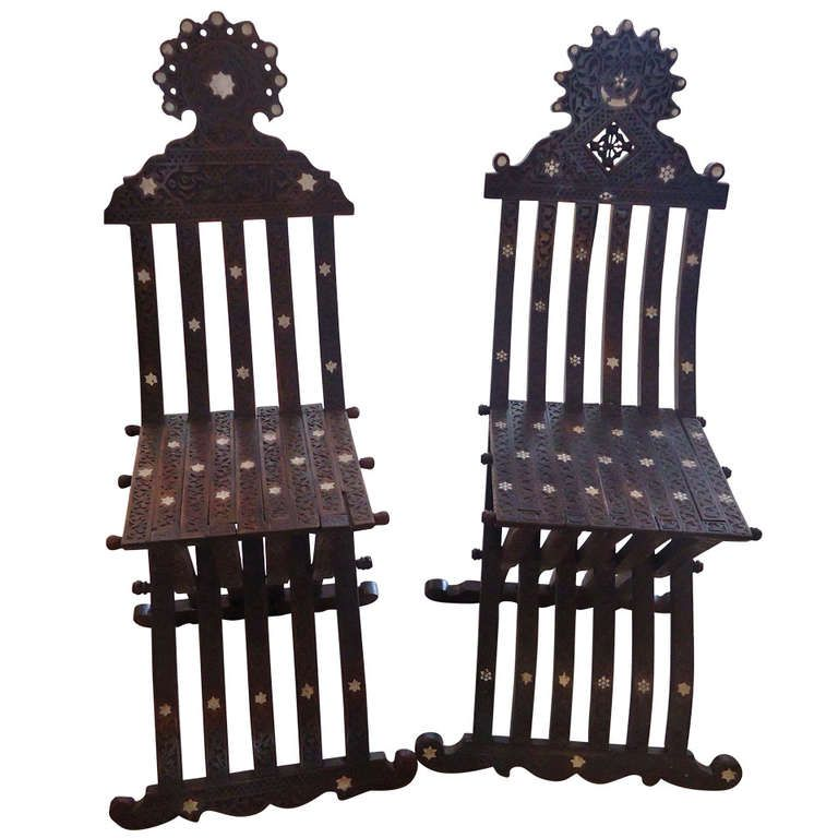 Anglo Indian Pair of Sidechairs | From a unique collection of antique and modern chairs at https://www.1stdibs.com/furniture/seating/chairs/