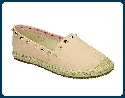Damen Bast Espadrilles Glitzer Streifen Slipper Flats Schuhe 133164 Schwarz Schwarz 39 Flandell ptuSs87