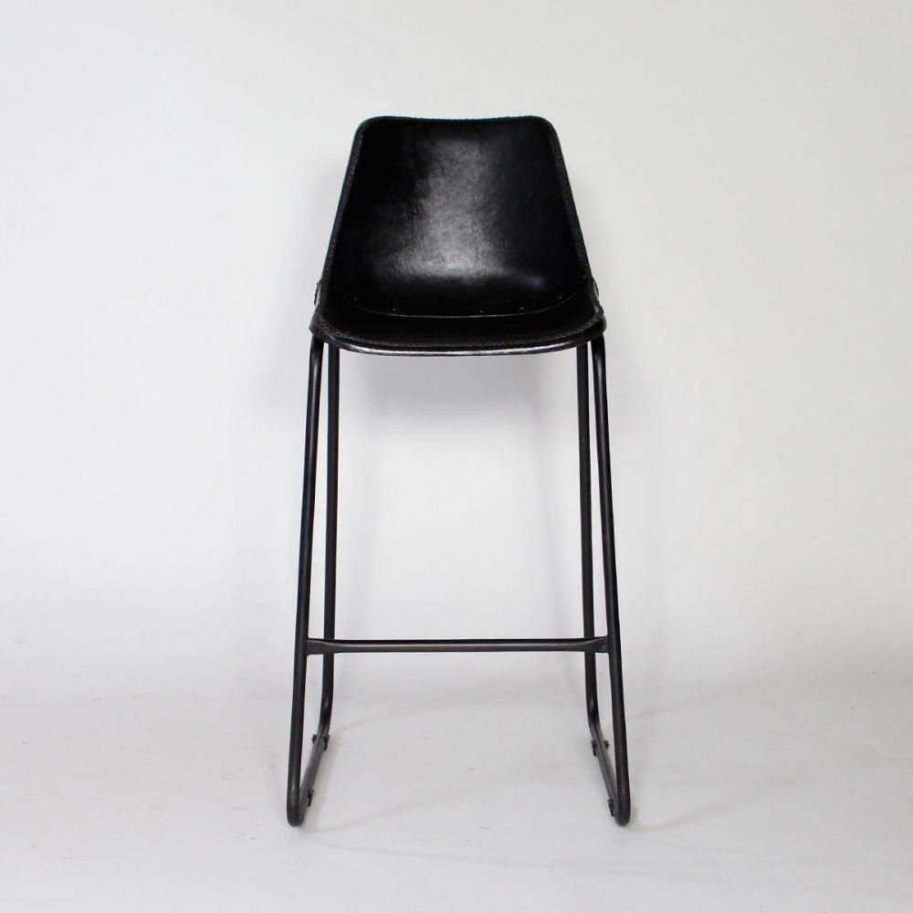 chaise de bar industrielle cuir et m tal dublin noire chaise de bar industriel bars. Black Bedroom Furniture Sets. Home Design Ideas