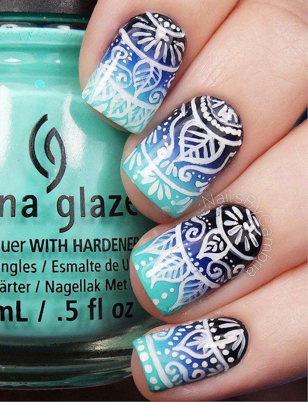 50 Blue Nail Art Designs Nail Art Ideas Pinterest White Polish