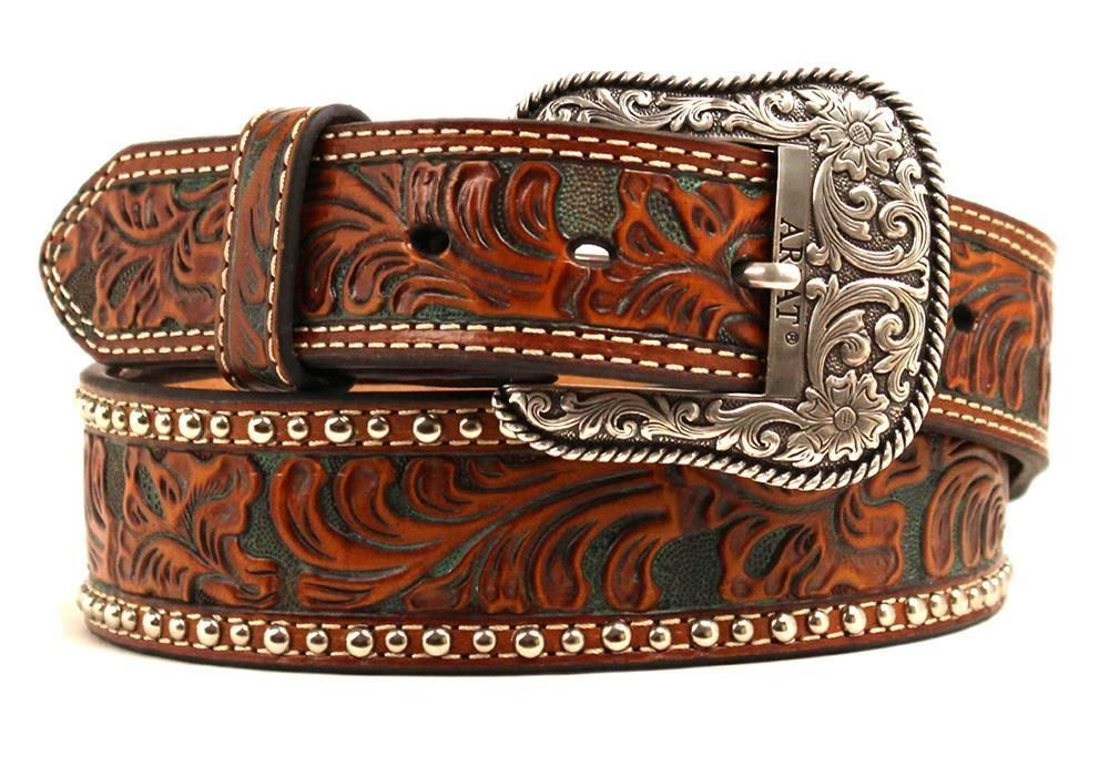 Western Fashion Accessories Mens Leather Tooled Brown Belt