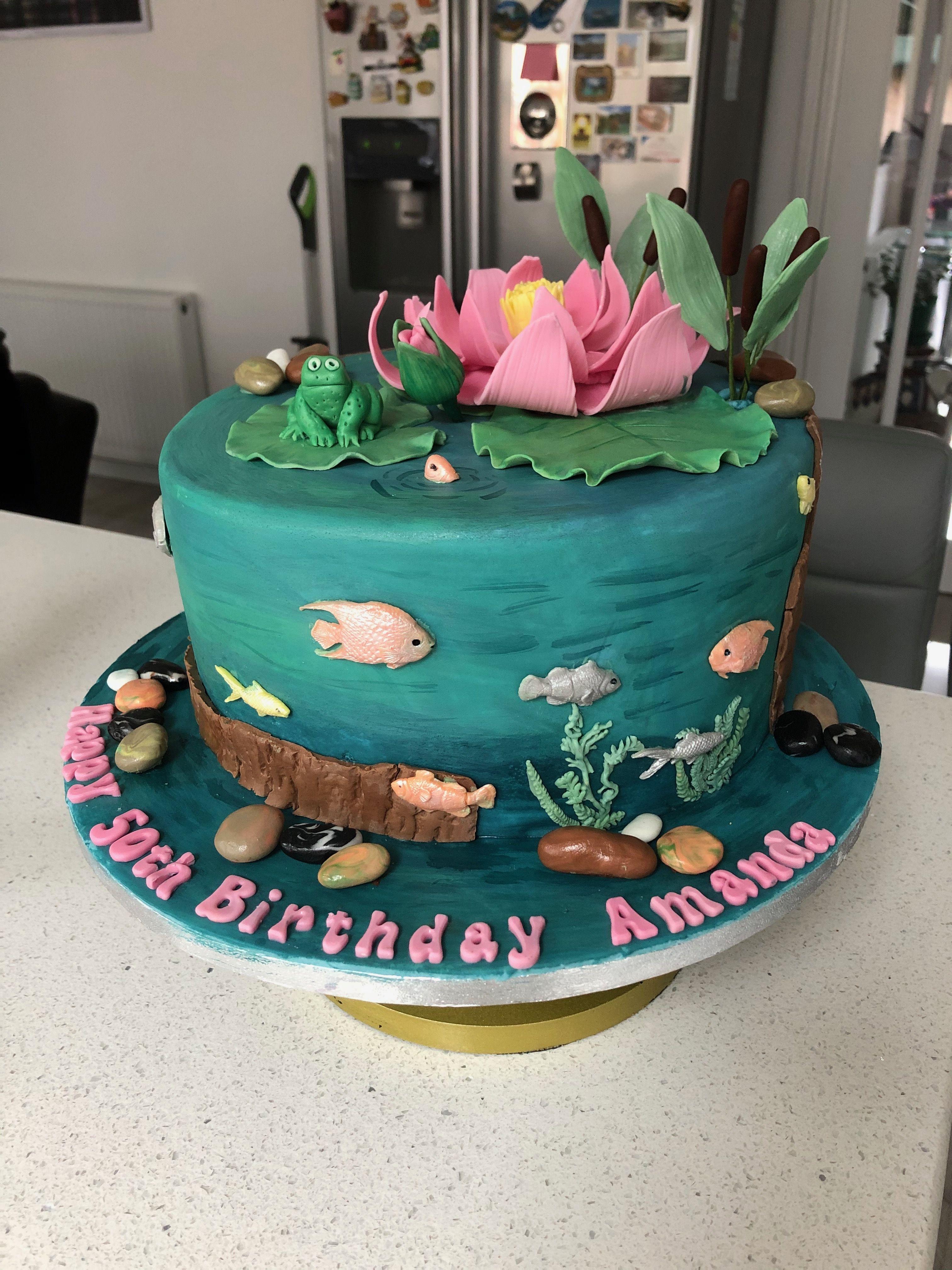 Waterlily Themed 50th Birthday Cake birthdaycakes