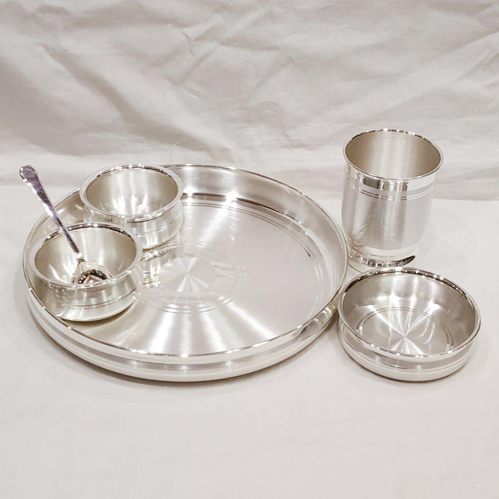 10 Size 999 Pure Silver Dinner Set Thali Set Ashapura Pattern With Bis Hallmark In 2020 Silver Dinnerware Pure Products Dinner Sets