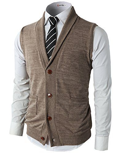 H2H Men Fashion Basic Shawl Collar Knitted Slim Fit Vest with ...
