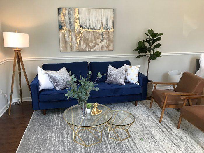 Mistana Derry Sofa Reviews Wayfair Livingroomapartment Blue Living Room Decor Velvet Sofa Living Room Blue Couch Living Room