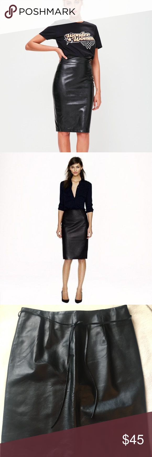 Newport News 100 Leather Pencil Skirt Leather Pencil Skirt Fashion Skirts