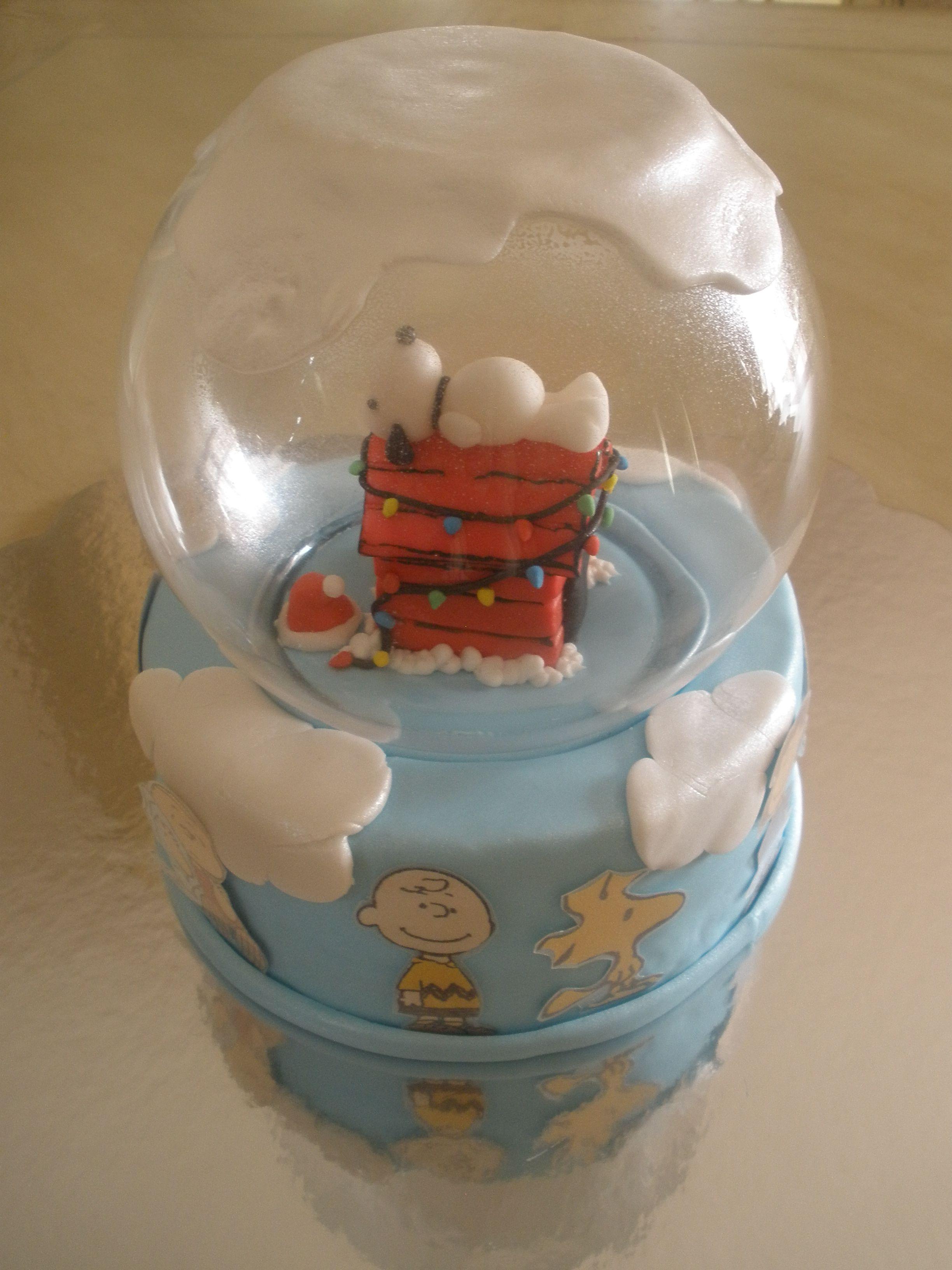 Snoopy Amp Woodstock Snow Globe Cake
