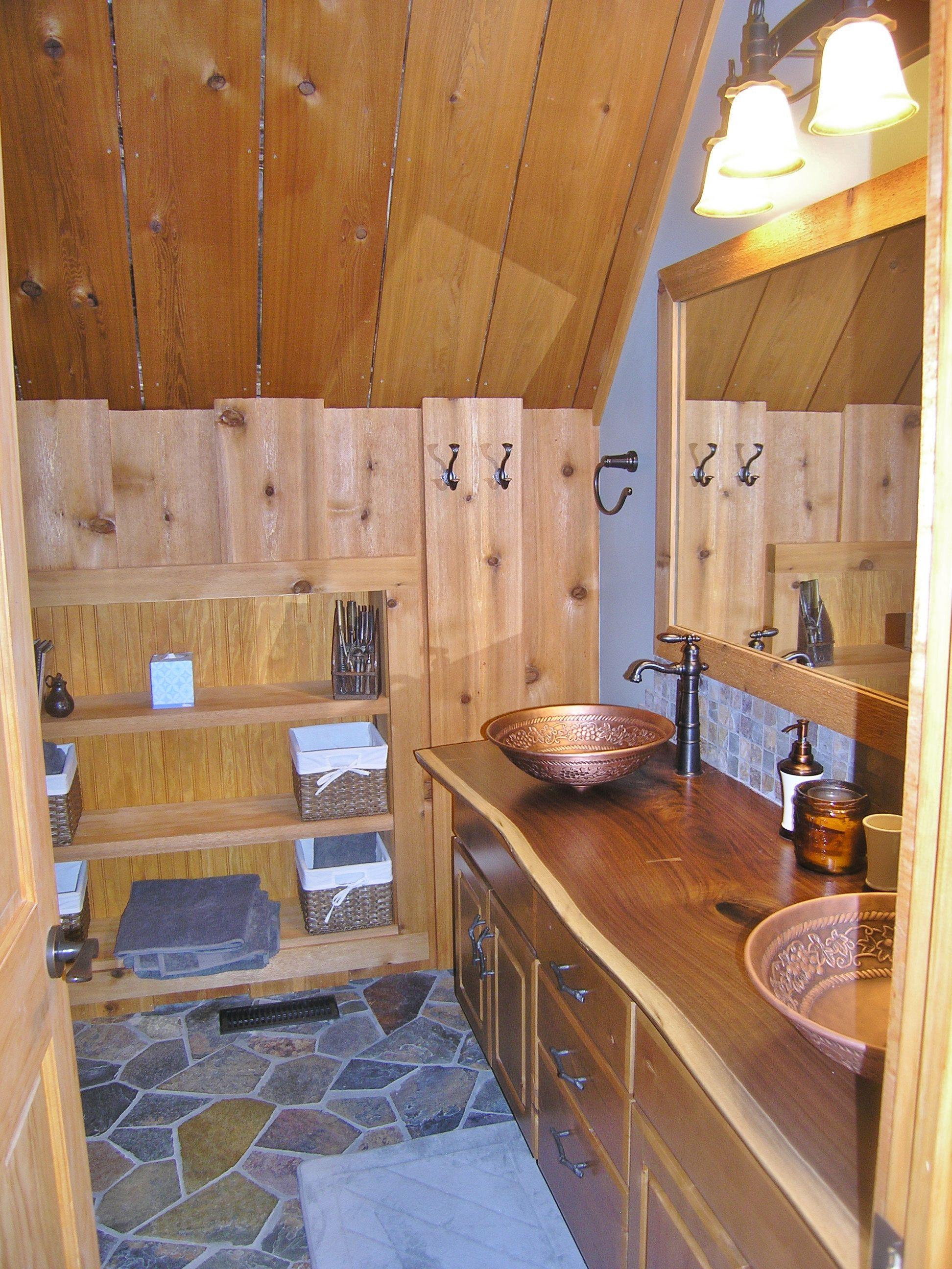 interior bathroom cedar warm dark grey tones | forty baskets