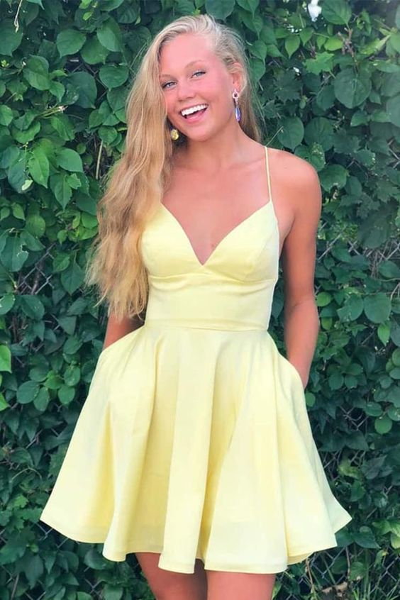 Photo of A-line Satin Fit and Flare Yellow Homecoming Dress with Pockets