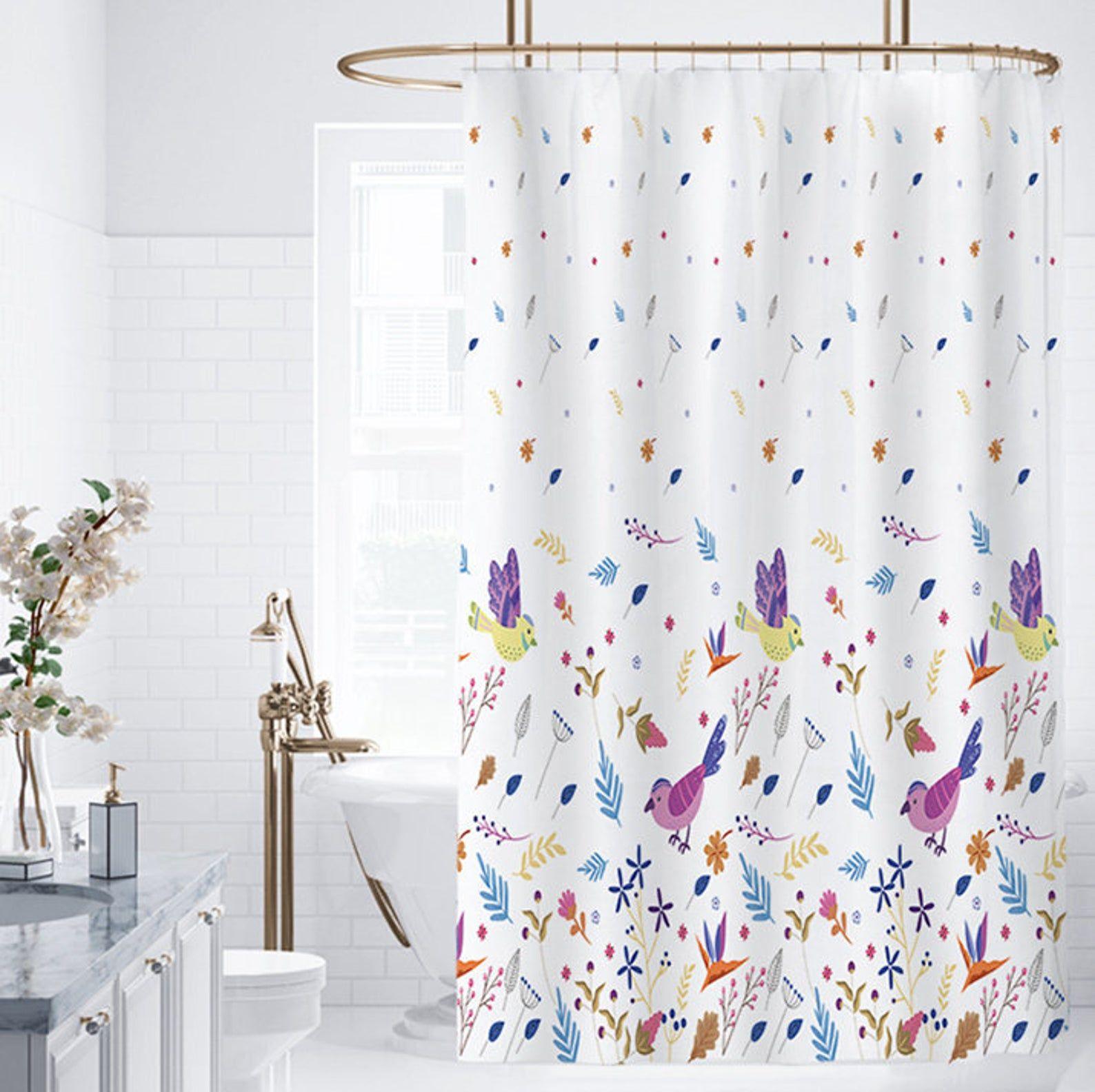 Birds Shower Curtain Custom Size In 2020 Bird Shower Curtain