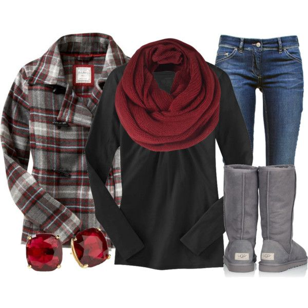 """""""Bundled Up in Burgundy"""" by qtpiekelso on Polyvore"""