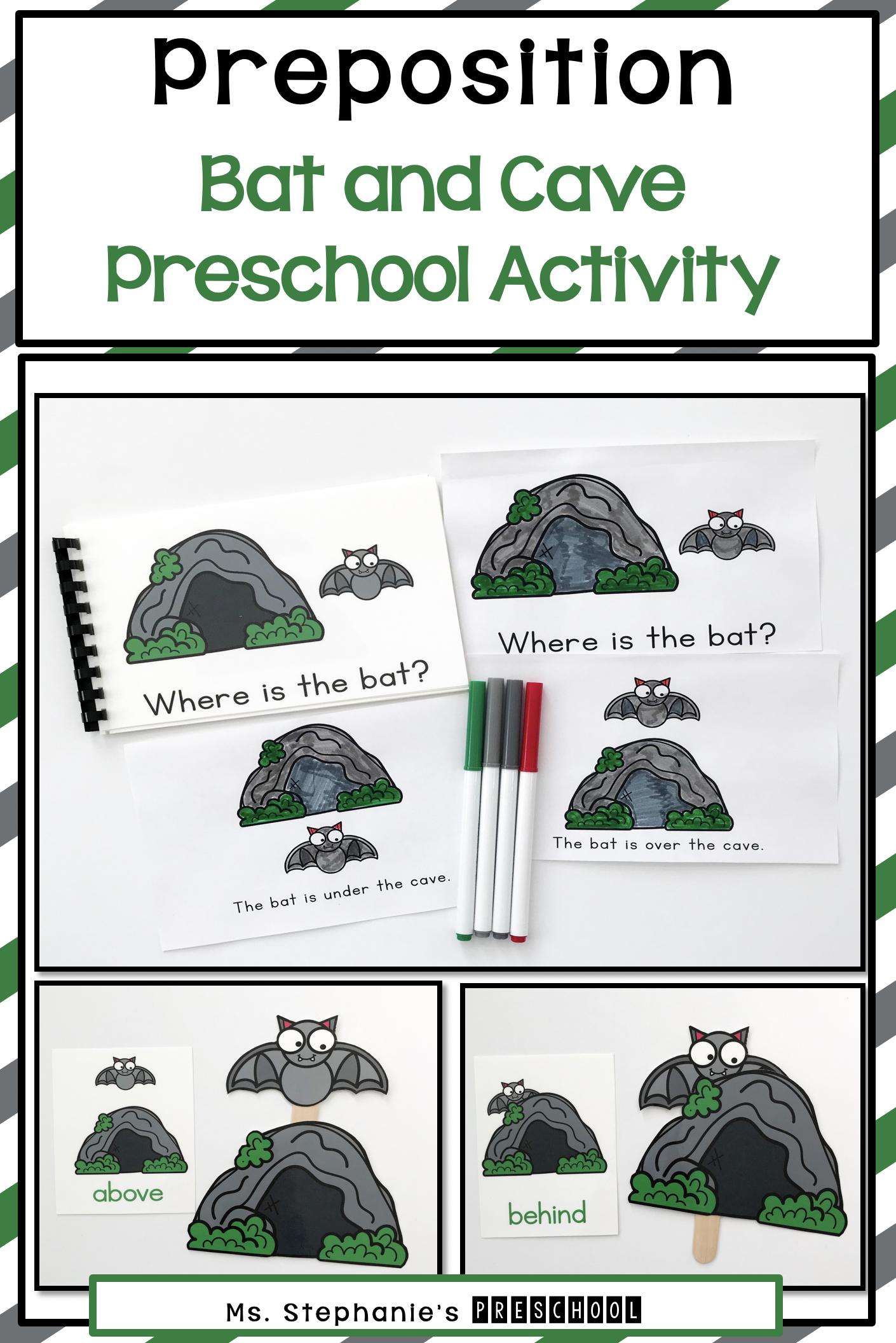 Bat And Cave Preschool Preposition Activity In