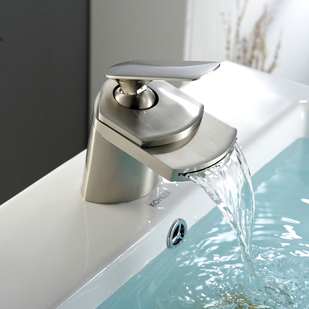 Free Shipping Becola Brushed Nickel Br Tap Deck Mounted Basin Faucet Waterfall Bathroom Lh