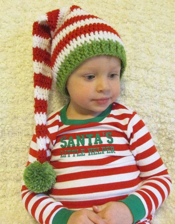 Christmas Crochet Long Tail Elf Hat, Red, White, Green, Sizes ...