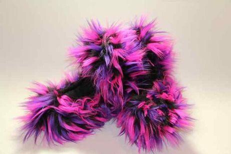 Crazy Fur Soakers CF24 - Black, Purple and Hot Pink Crazy Fur
