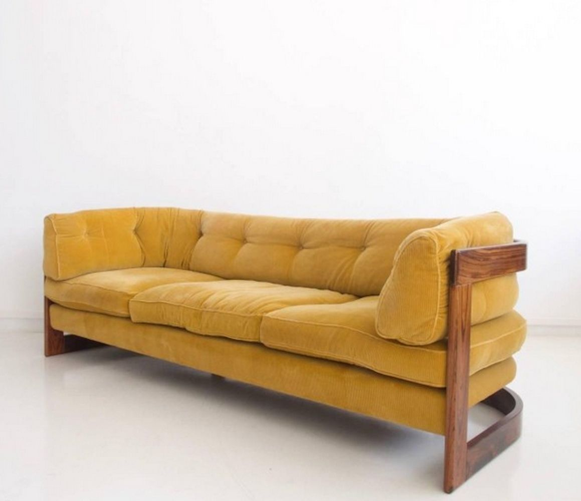 Lennart Bender Mustard Corduroy Sofa With Rosewood Frame Mustard Bedding Mustard Sofa Sofa