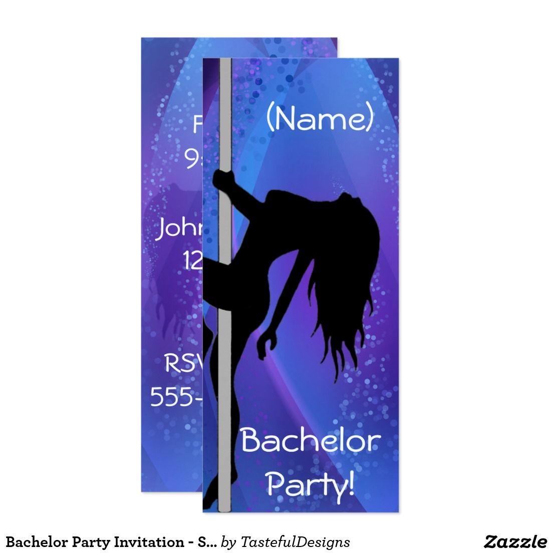 Bachelor Party Invitation Stripper Girl Purple – Pole Party Invitations