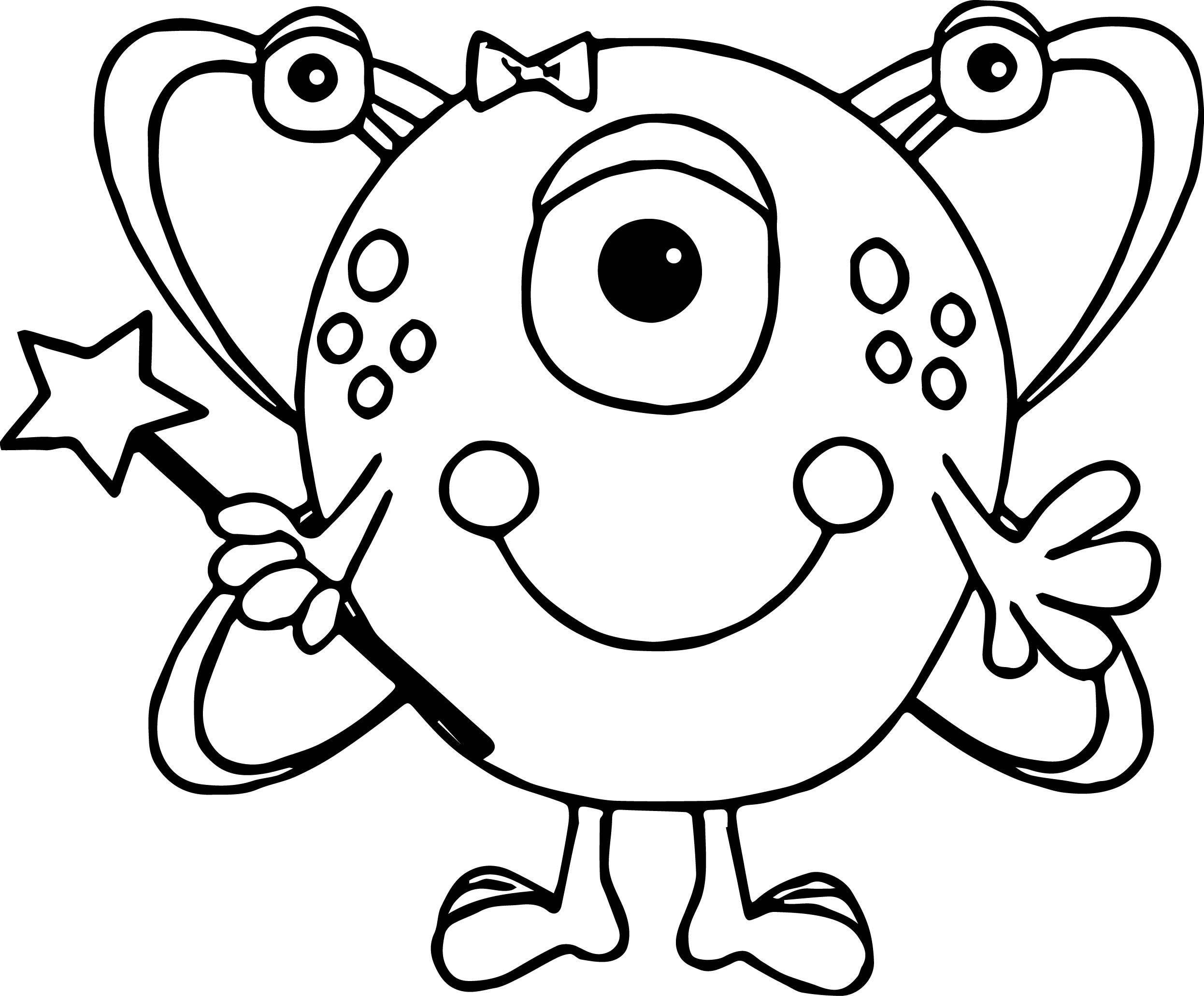 Nice Cute Girl Alien Coloring Page Monster Coloring Pages Cute Monsters Drawings Monster Quilt