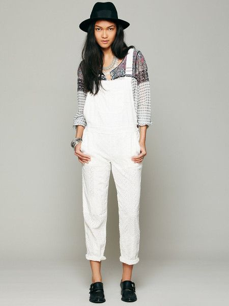 ffbdcac5de8a Women's White Straight Eyelet Dungarees | <3 | Overalls, Jeans ...