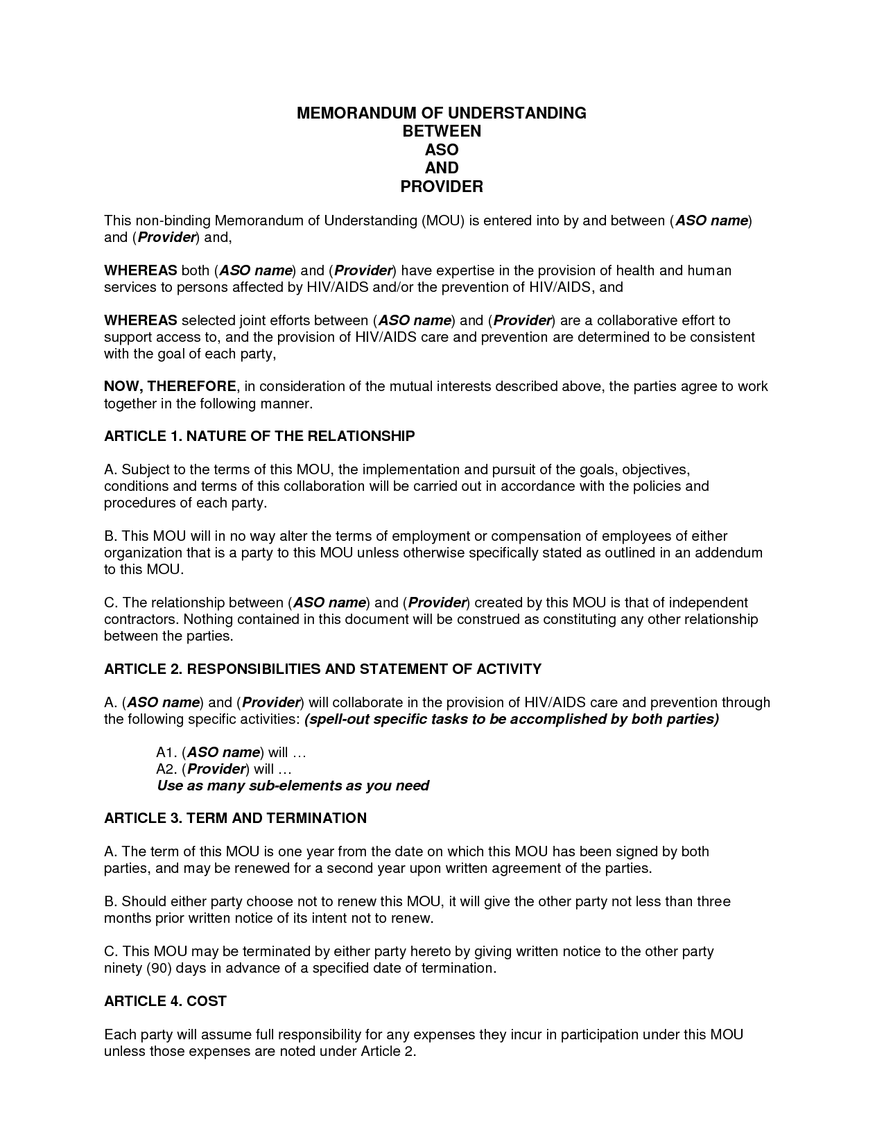 sample memorandum of understanding business partnership doc by