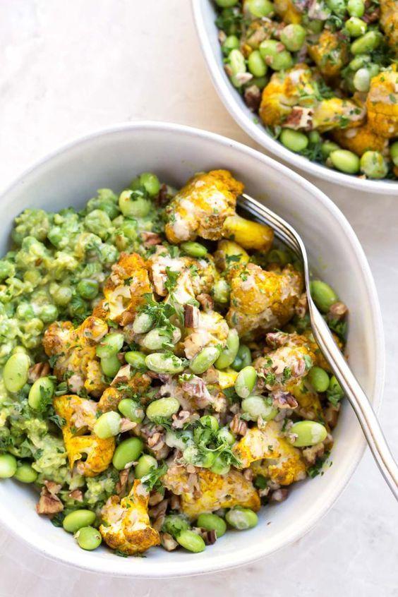 Vegan Roasted Cauliflower Bowl With Tahini Dressing