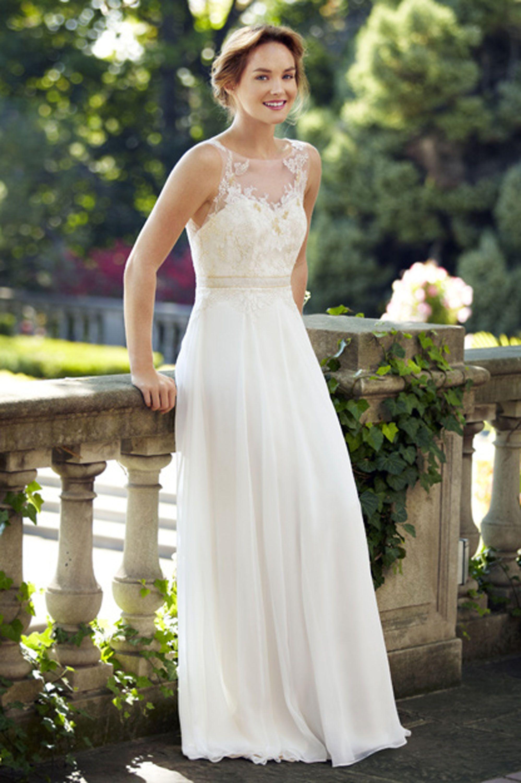 Delicate Illusion Lace Bodice With A Flowing Silk Georgette Popular Wedding DressesChiffon