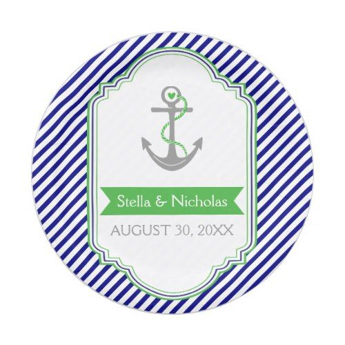 Navy blue Kelly green anchor nautical wedding Paper Plate  sc 1 st  Pinterest & Navy blue Kelly green anchor nautical wedding Paper Plate ...