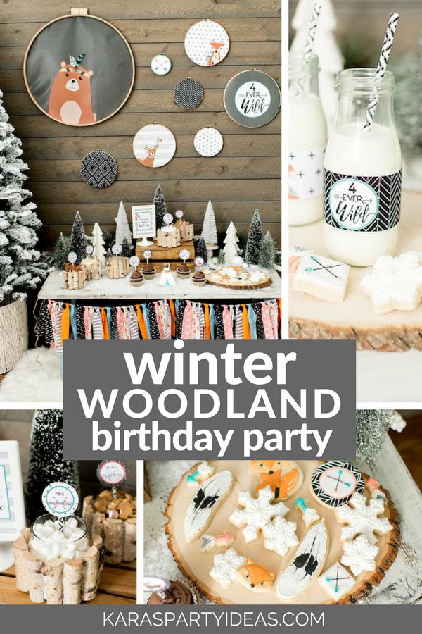 Winter Woodland Birthday Party Kara S Party Ideas Winter Woodland Birthday Party Woodland Birthday Party Winter Birthday Parties