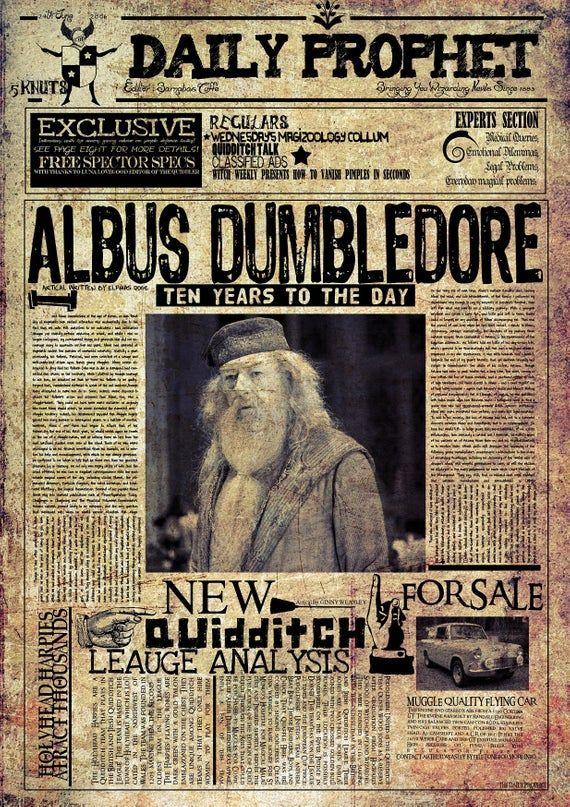 Harry Potter Daily Prophet Newspaper Hogwarts Alternative Movie Film Albus Dumbledore Graphic Design Minimalist Minimal Poster Print #trucsdenoël