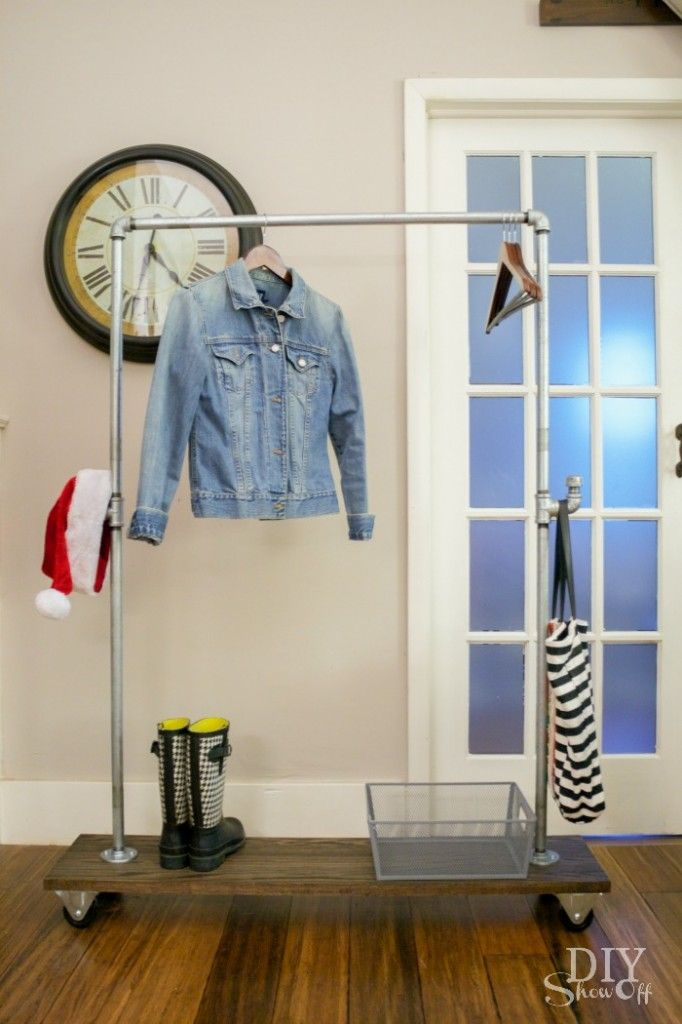DIY Freestanding Mobile Pipe Coat Rack Coat Racks Pipes And Classy Diy Coat Rack Pipe