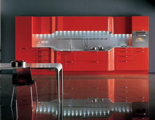 red kitchen, a bit much - contemporary kitchen by Snaidero