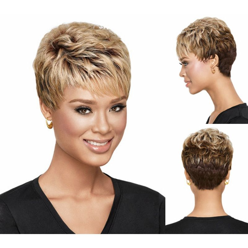 Medusa hair products afro pixie cut style short wavy blonde wig with medusa hair products afro pixie cut style short winobraniefo Images
