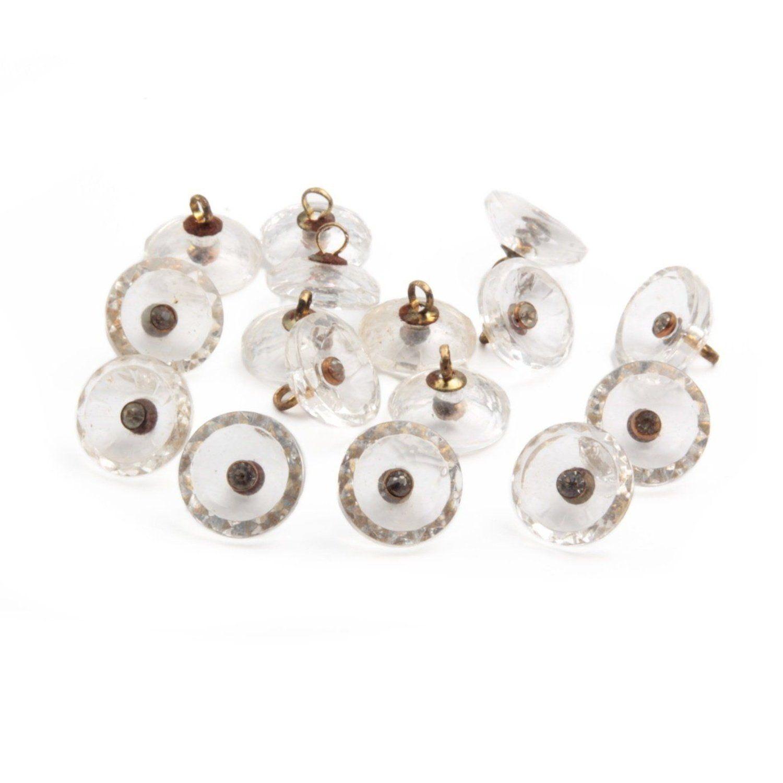 6 Vintage Czech glass button Lot 23mm crystal clear swirl vortex buttons