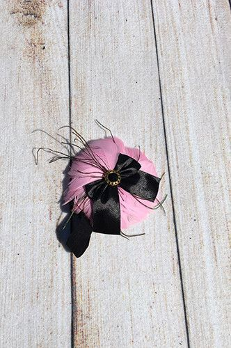 CCH115 Black Ribon Pink Feather Baby Prop Headband - LAST CALL