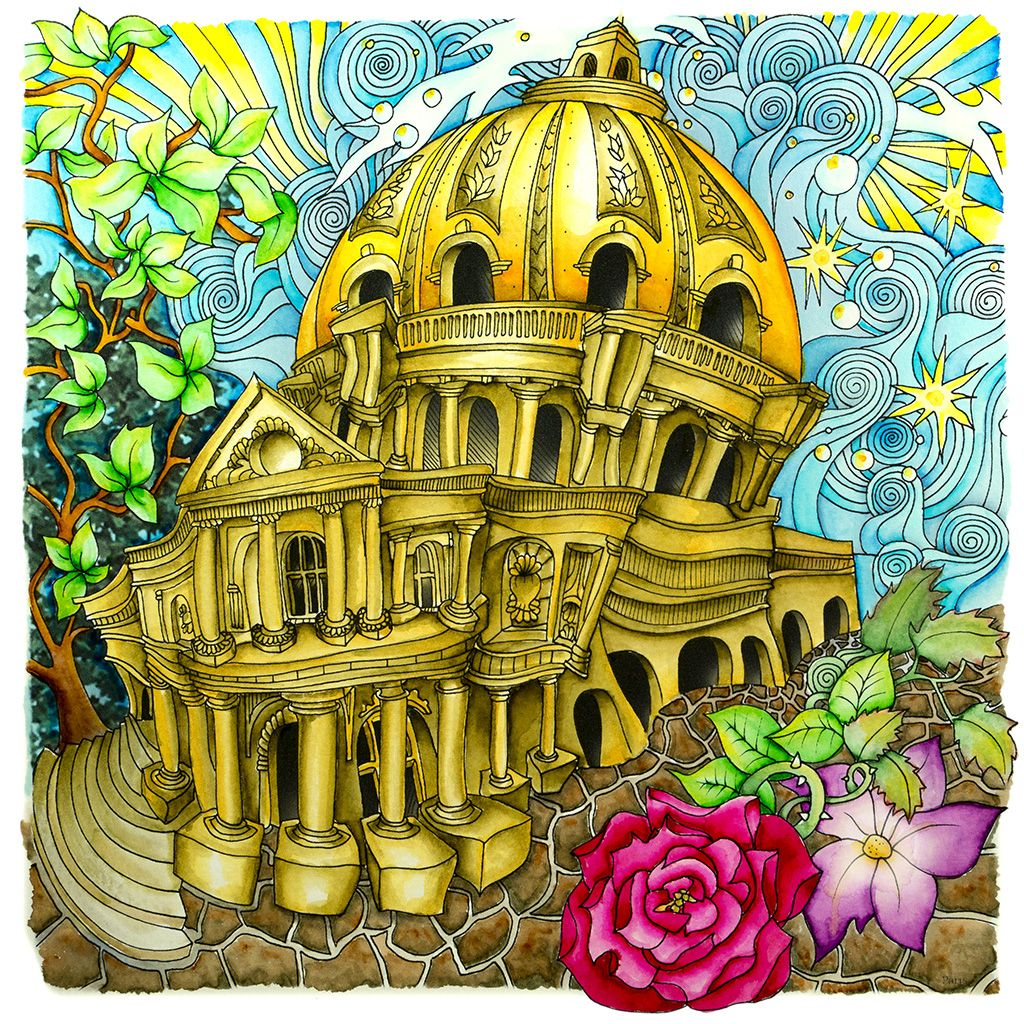 Color book for me - Peta Hewitt Aka La Artistino With A Scene From Paris In The Magical City Color Book By Lizzie Mary Cullen With A Multiple Part Coloring You Tube Tutorial